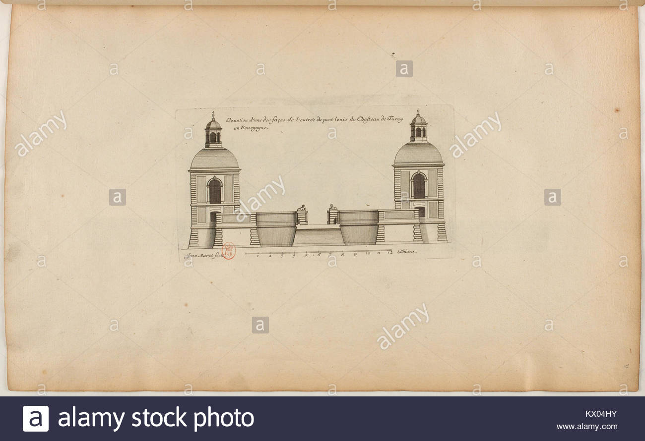 L'Architecture française (Marot) BnF RES-V-371 031r-f69 Château de Turny en Bourgogne, Élévation - Stock Image
