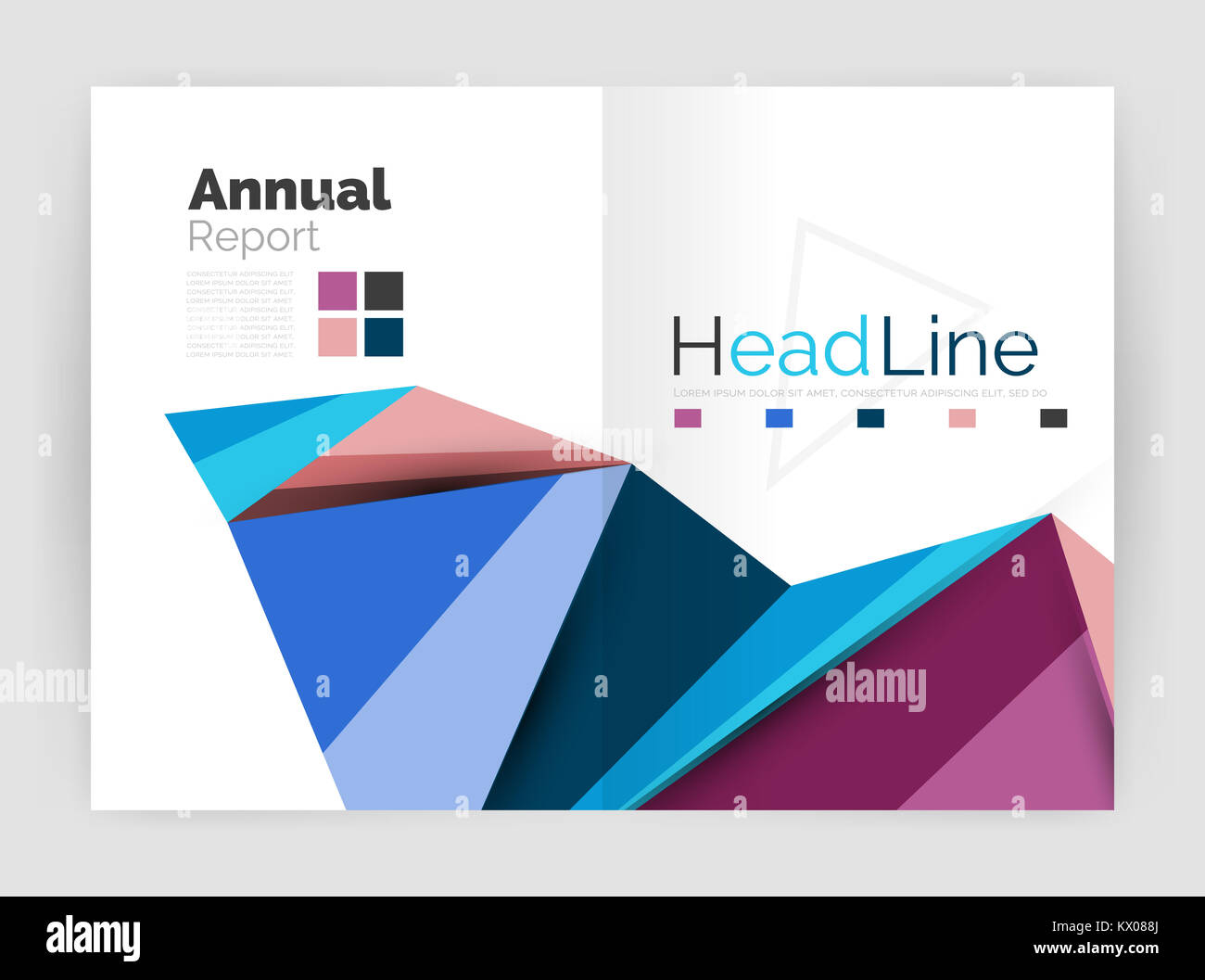 D Low Poly Shapes Design For Business Brochure Template Annual - 3d brochure template