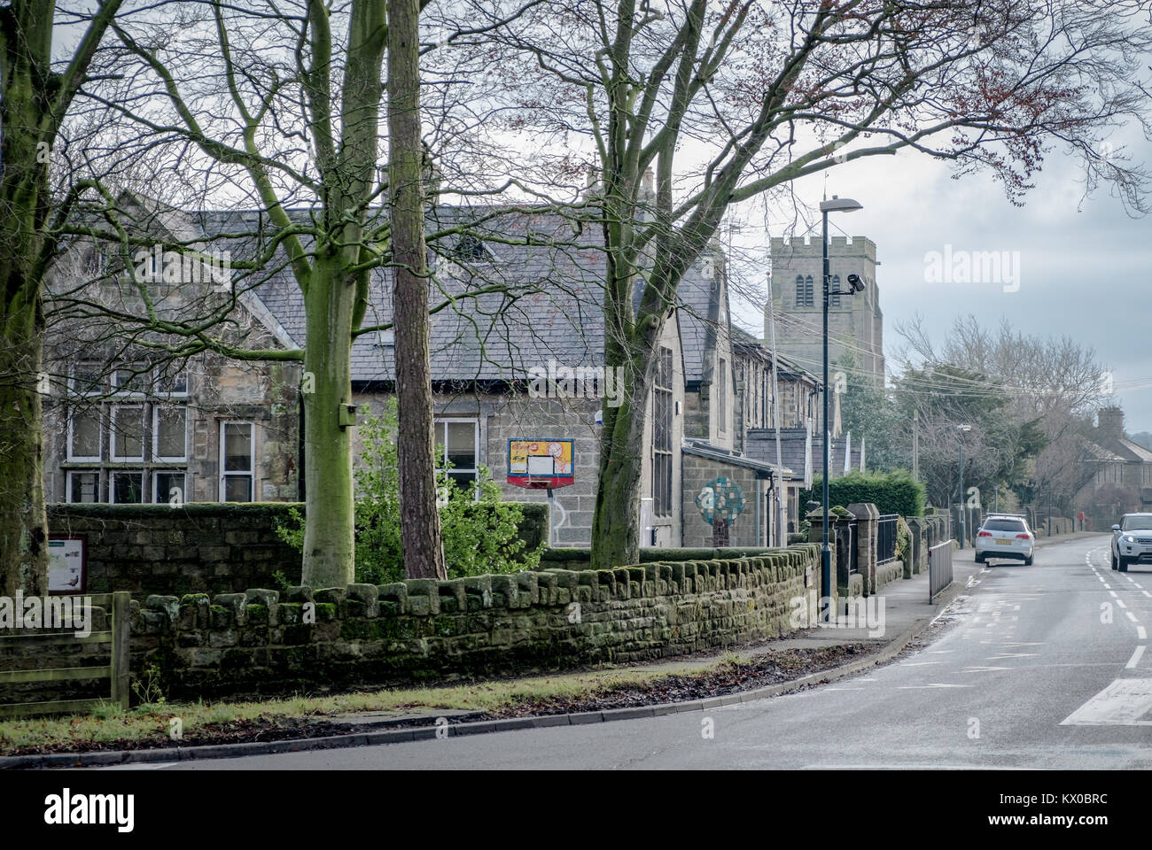 View of Beckwithshaw down the main road. Beckwithshaw village, North Yorkshire, United Kingdom. The village has not changed significantly in 100 years Stock Photo