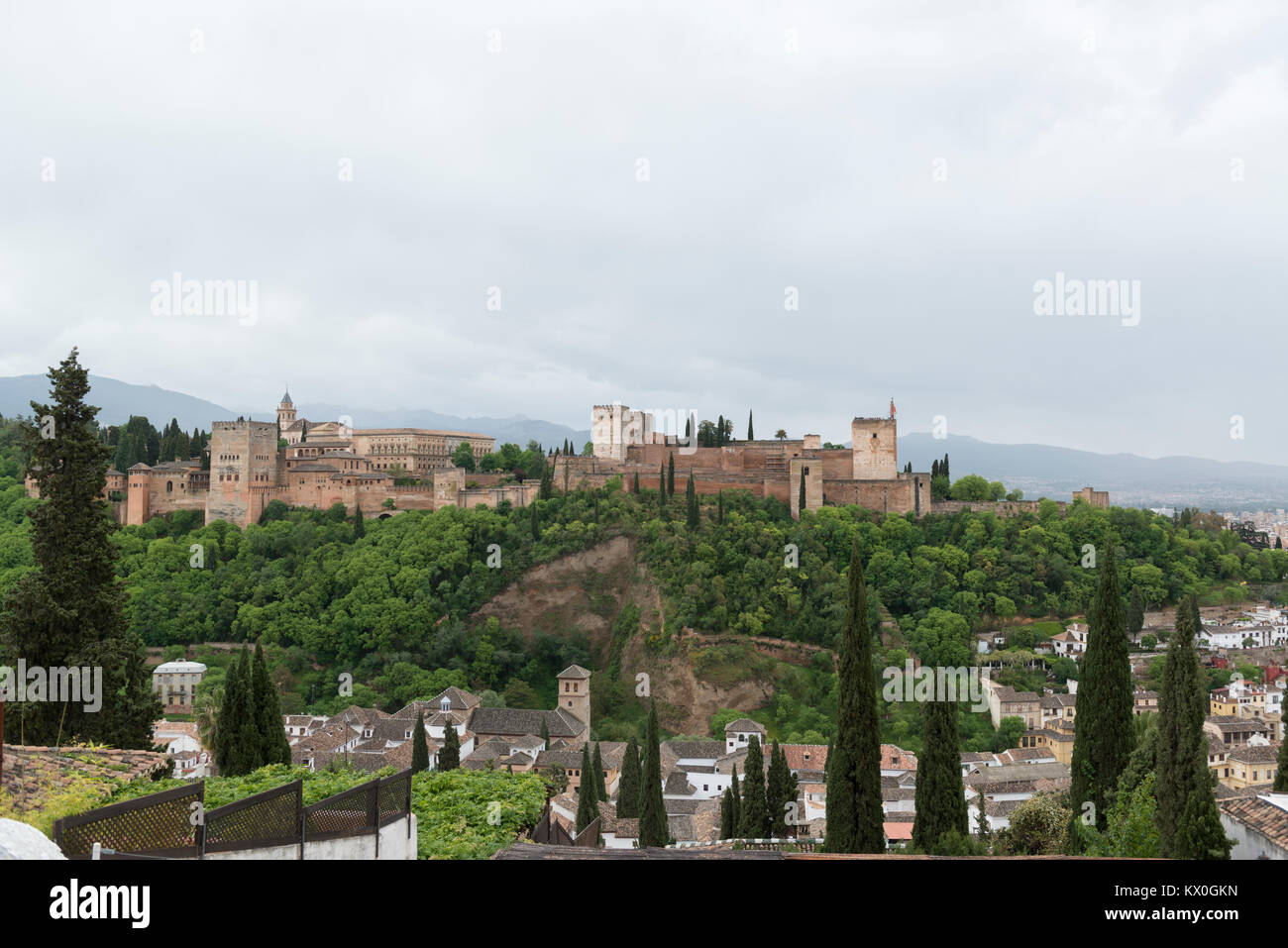 Alhambra in Granada, Andalusia, Spain. View of the total complex. - Stock Image