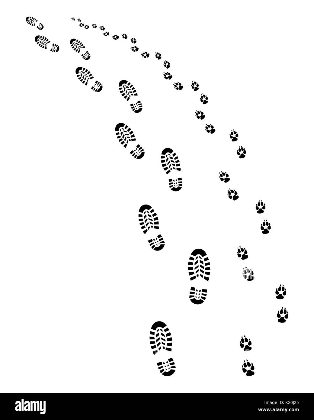 Footprints of man and dog, turn left, vector - Stock Image