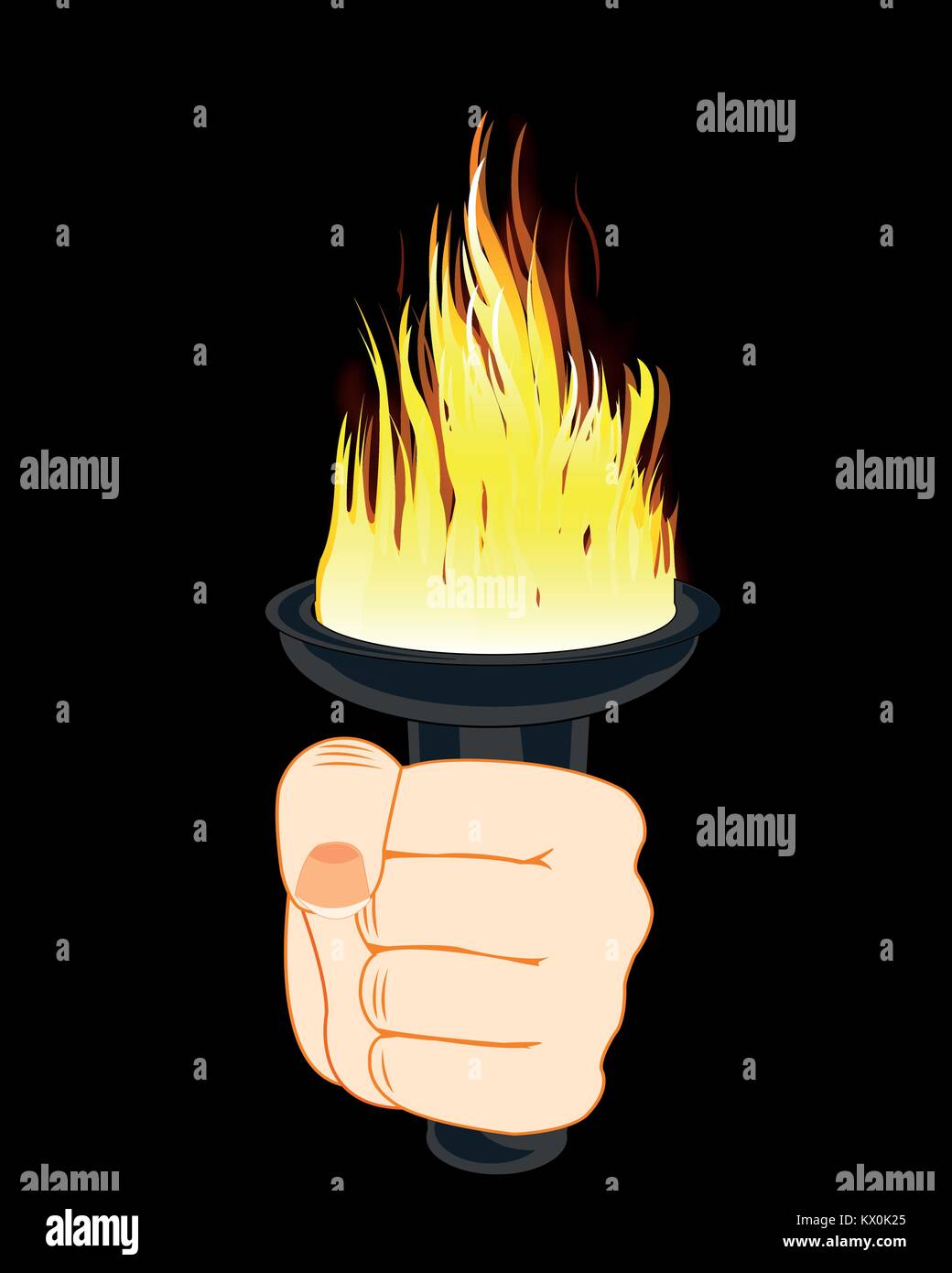 Torchlight in hand - Stock Vector