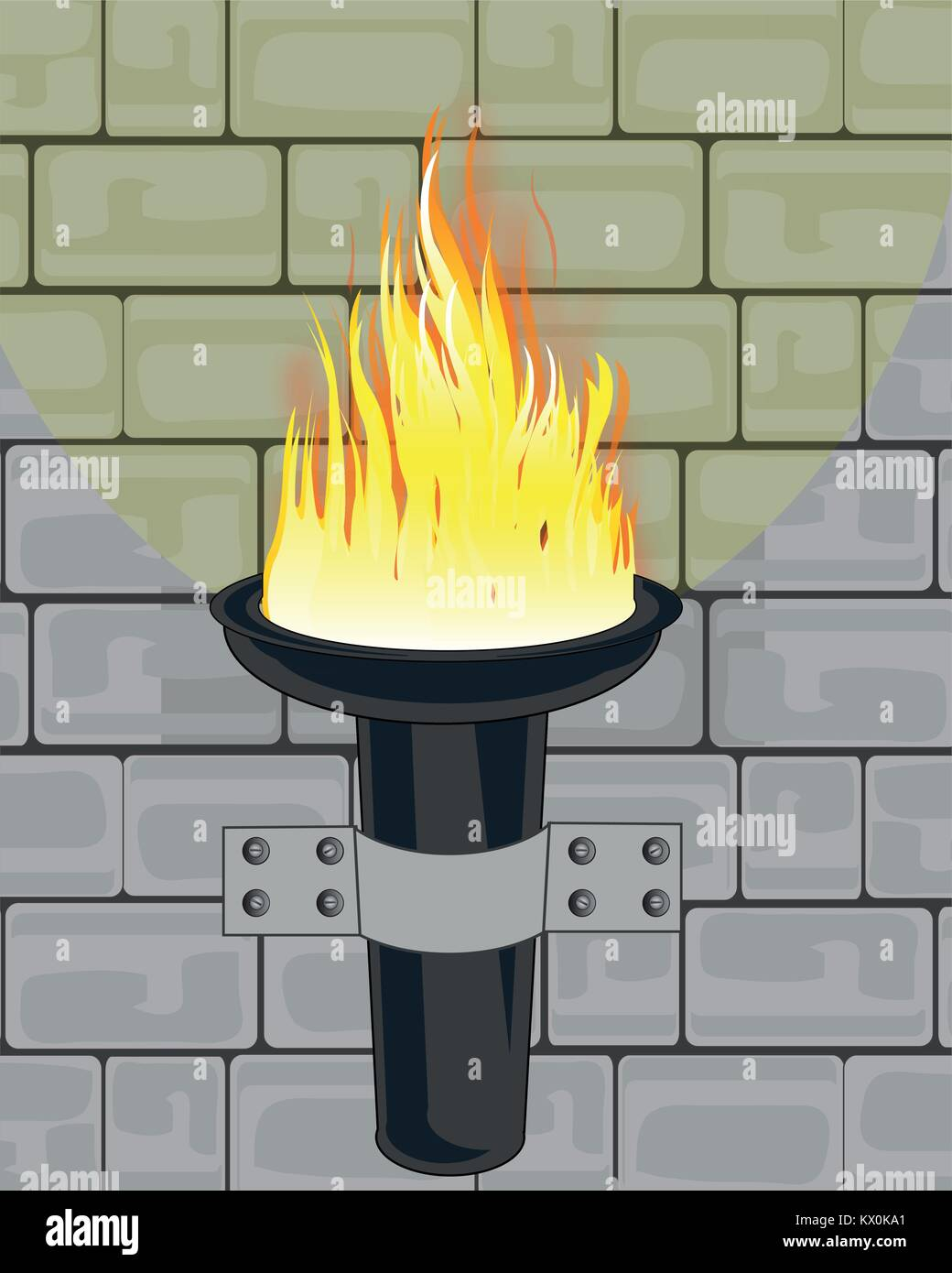 Torchlight on wall - Stock Image