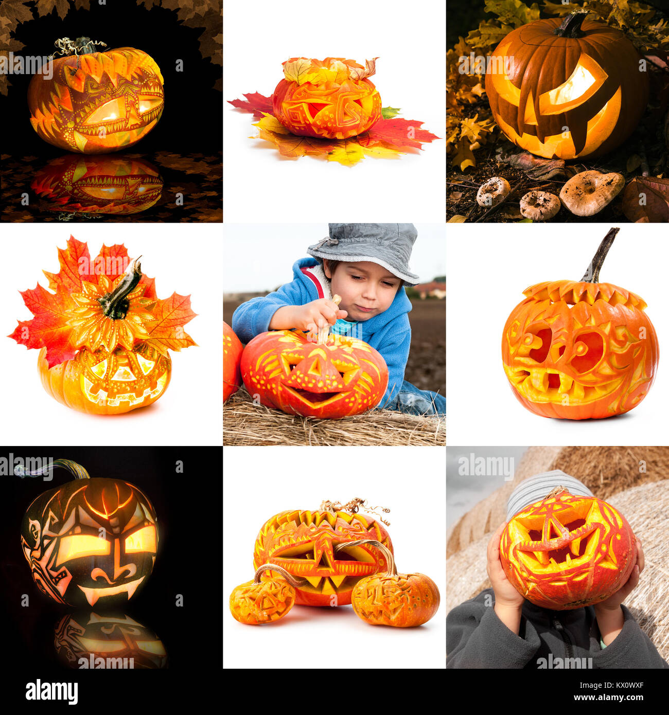 Halloween pumpkins in and out of context, collage - Stock Image