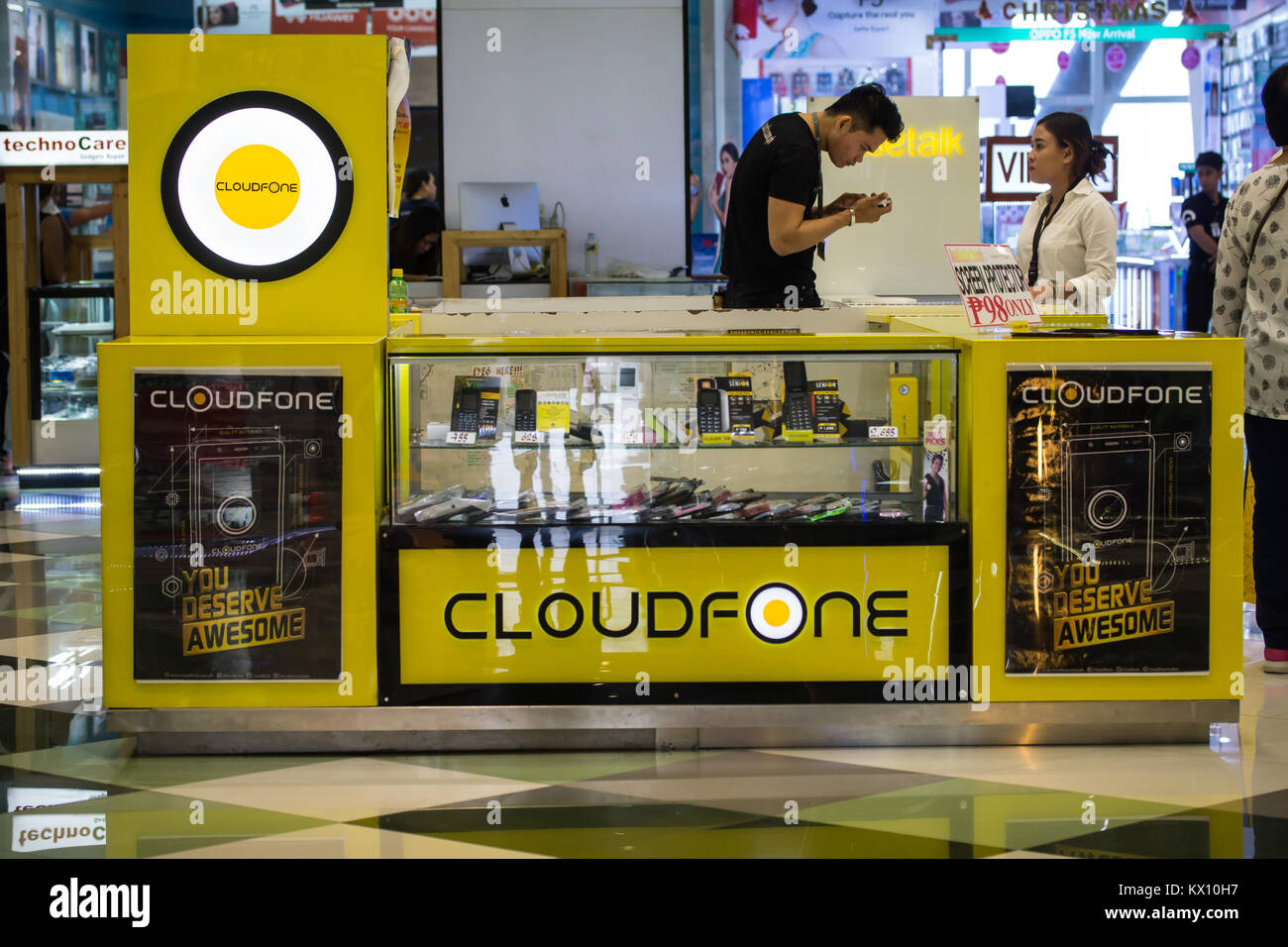 Cloudfone - a popular Innovative mobile phone  company taking a large share of business within the Philippine  market. - Stock Image
