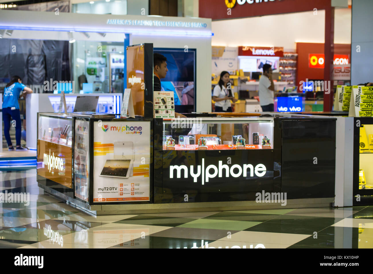 A myphone kiosk within SM Seaside Mall,Cebu City.A Filipono mobile phone company popular amongst Filipinos in general. - Stock Image