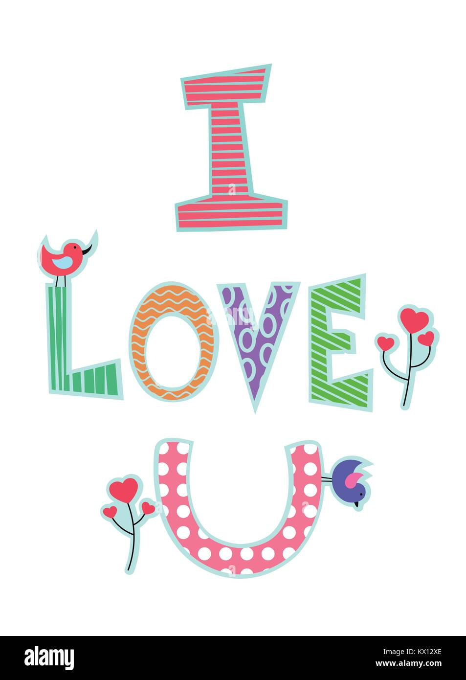Romantic Card For Saint Valentine Day Text I Love U In Different