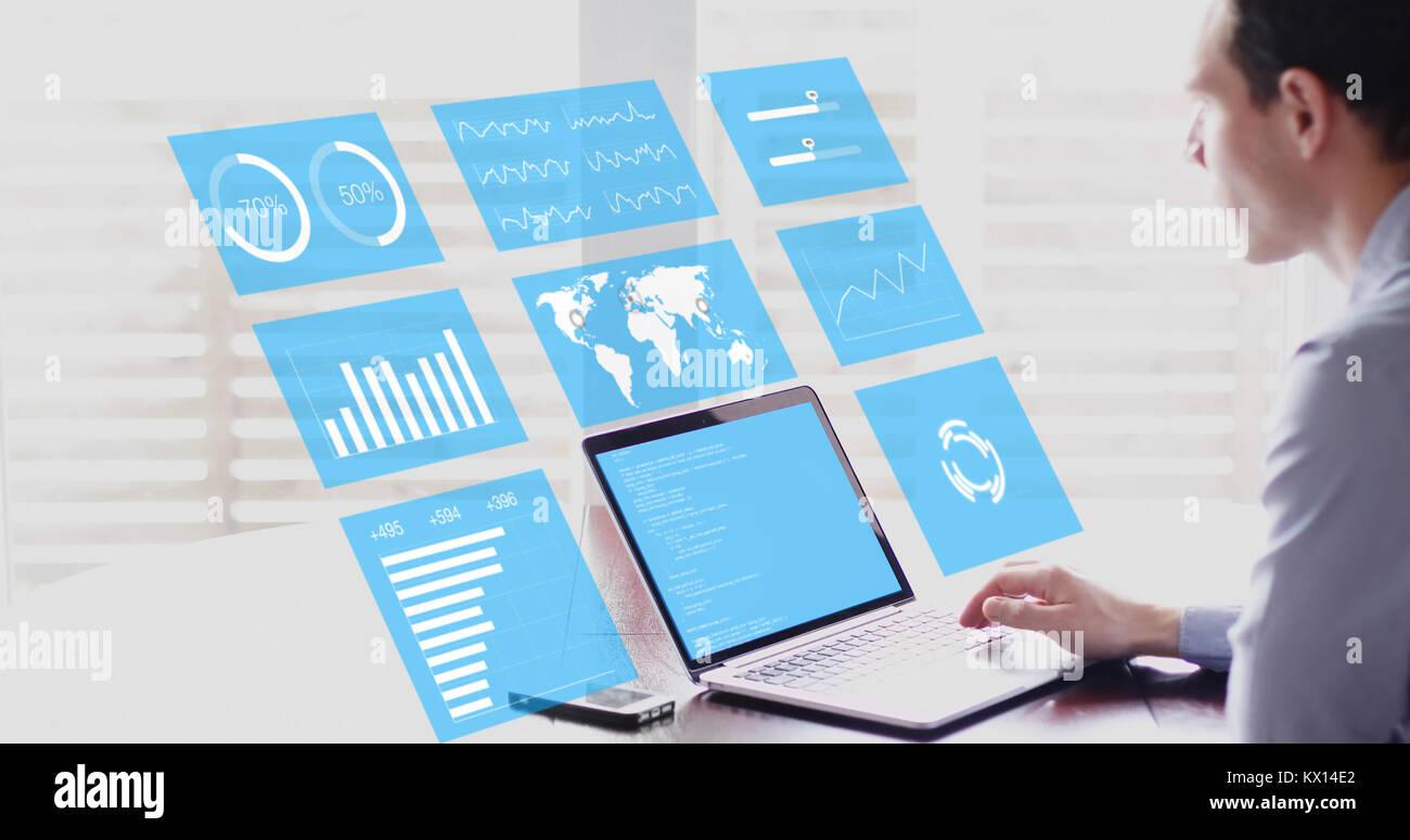 Key Performance Indicators (KPI) on business dashboard, businessman analyzing metrics of financial operations on - Stock Image