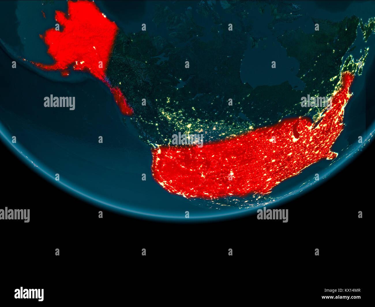 Satellite Map North America Night Stock Photos & Satellite ... on canada at night satellite, world map at night satellite, us map at night satellite,