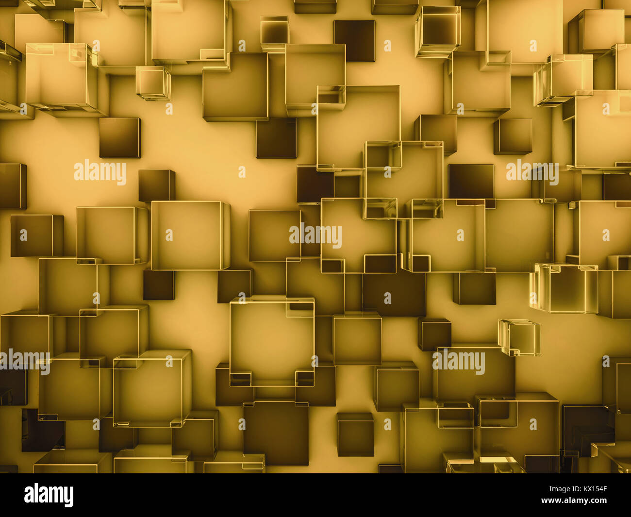 Hexagon abstract glass gold background. 3D rendering - Stock Image