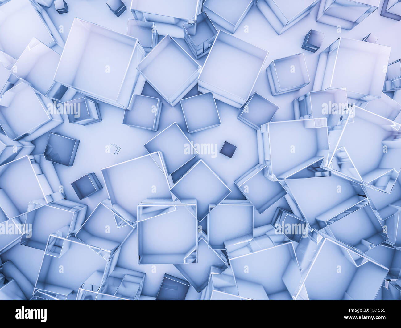 Hexagon abstract glass blue background. 3D rendering - Stock Image