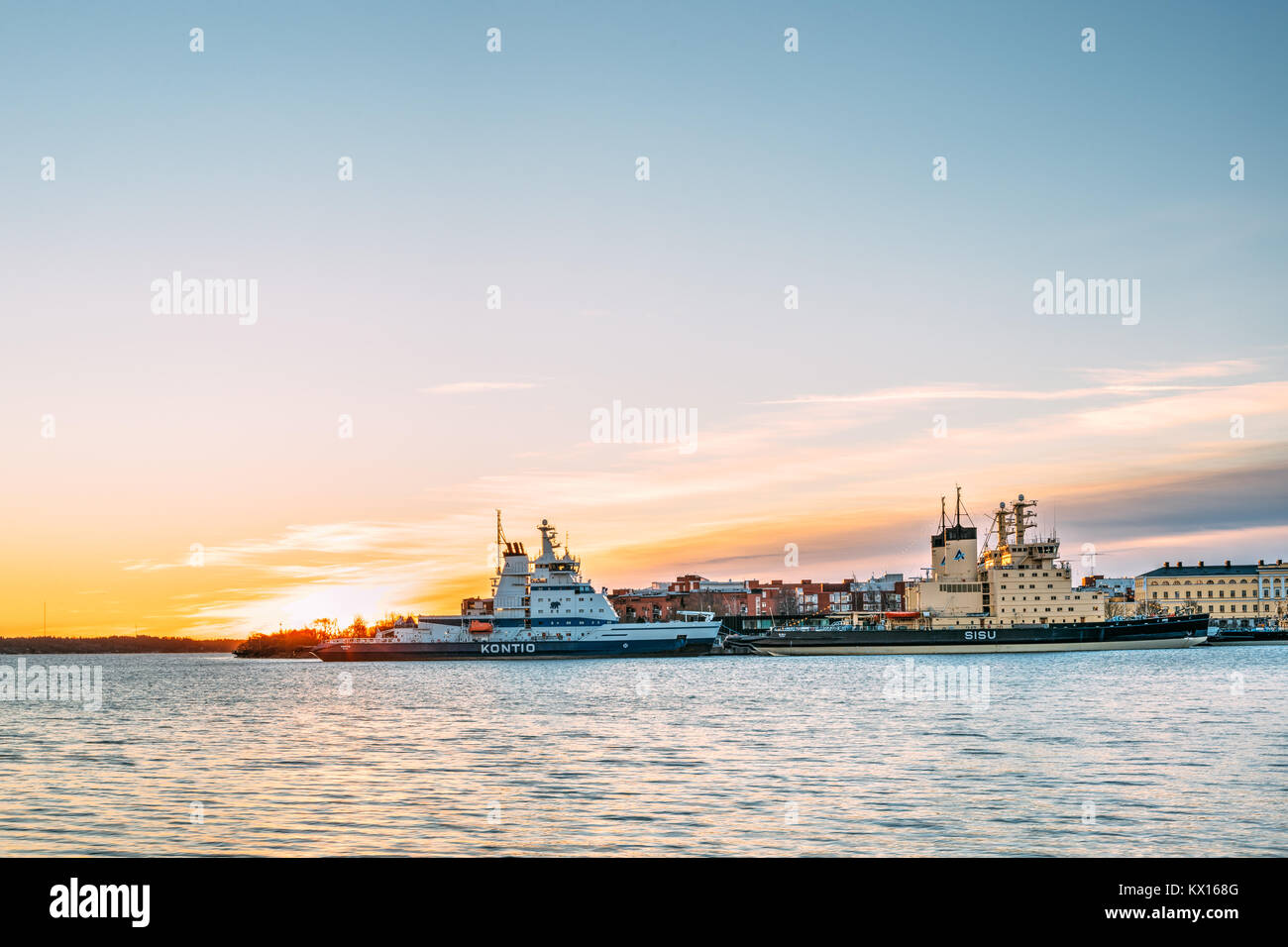 Helsinki, Finland. View Of Finnish State-owned Icebreaker Kontio And Finnish Icebreaker Of The Atle Class Sisu. - Stock Image