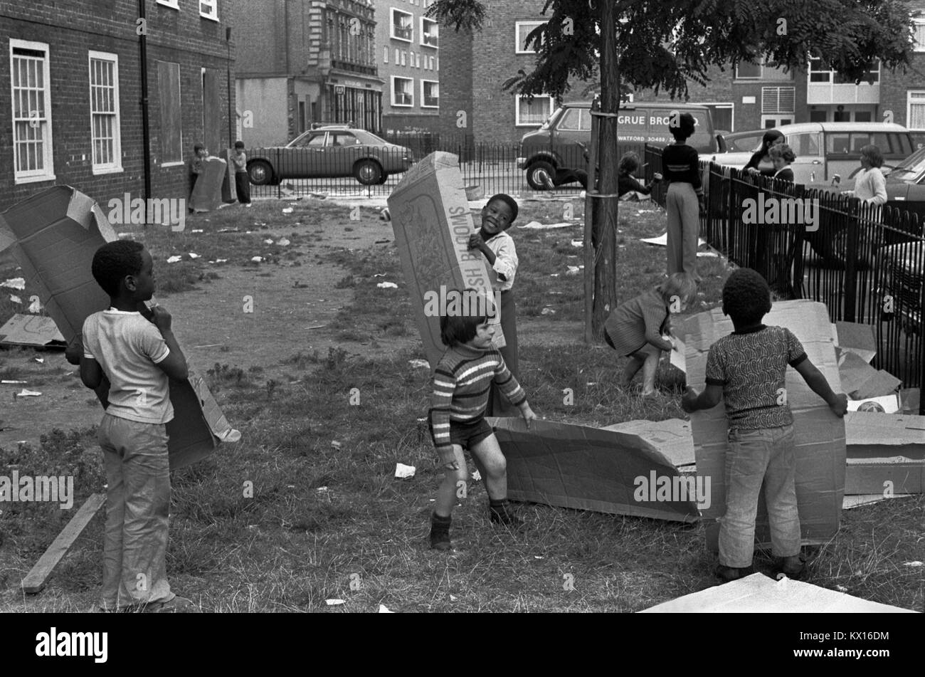 Preteen group of boys playing  together on their council estate South London 1970s Britain  70s UK HOMER SYKES - Stock Image
