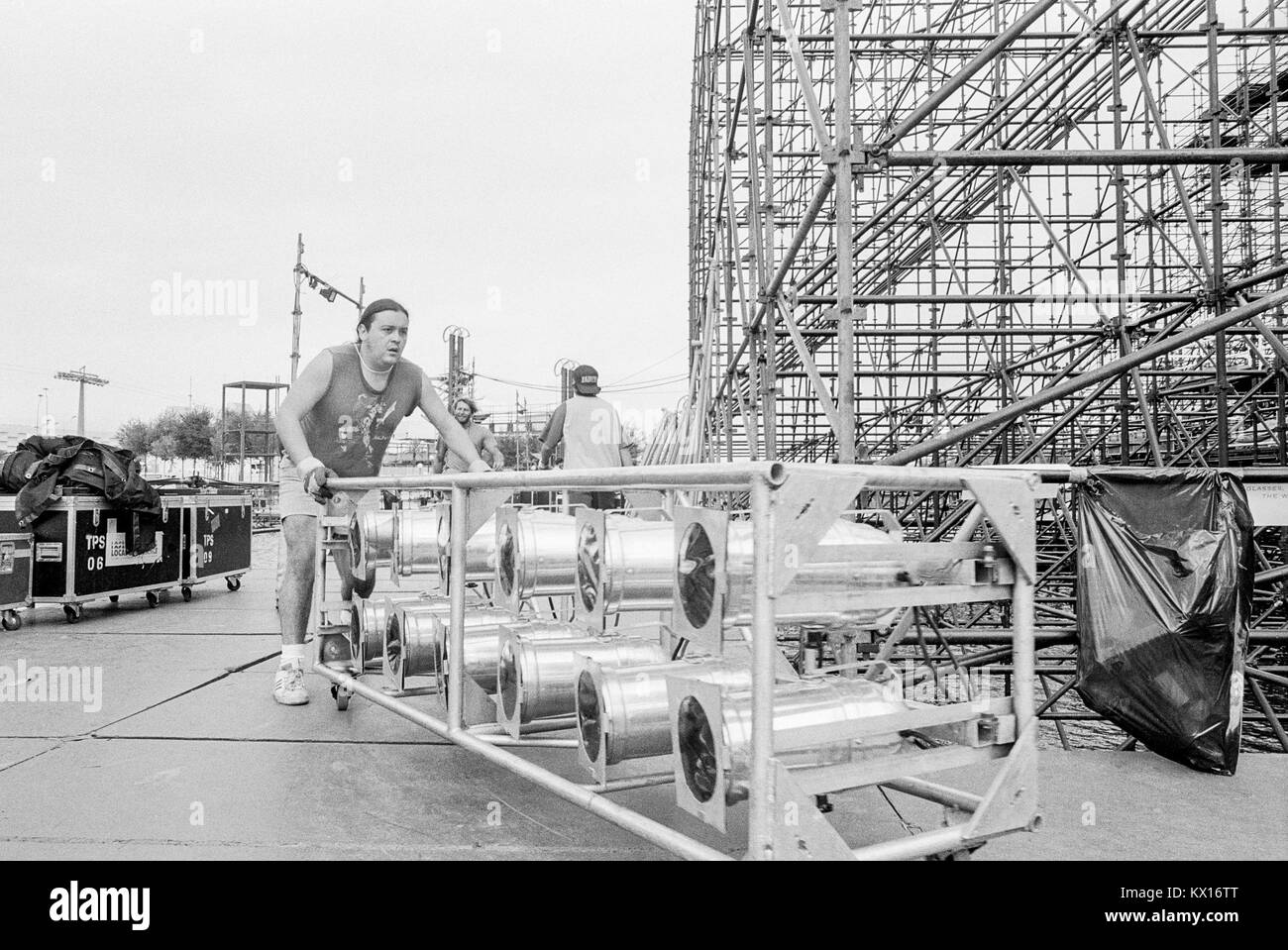 Stage building for Jean Michel Jarre concert Europe in Concert tour, Seville, staging by Edwin Shirely Staging constructed - Stock Image