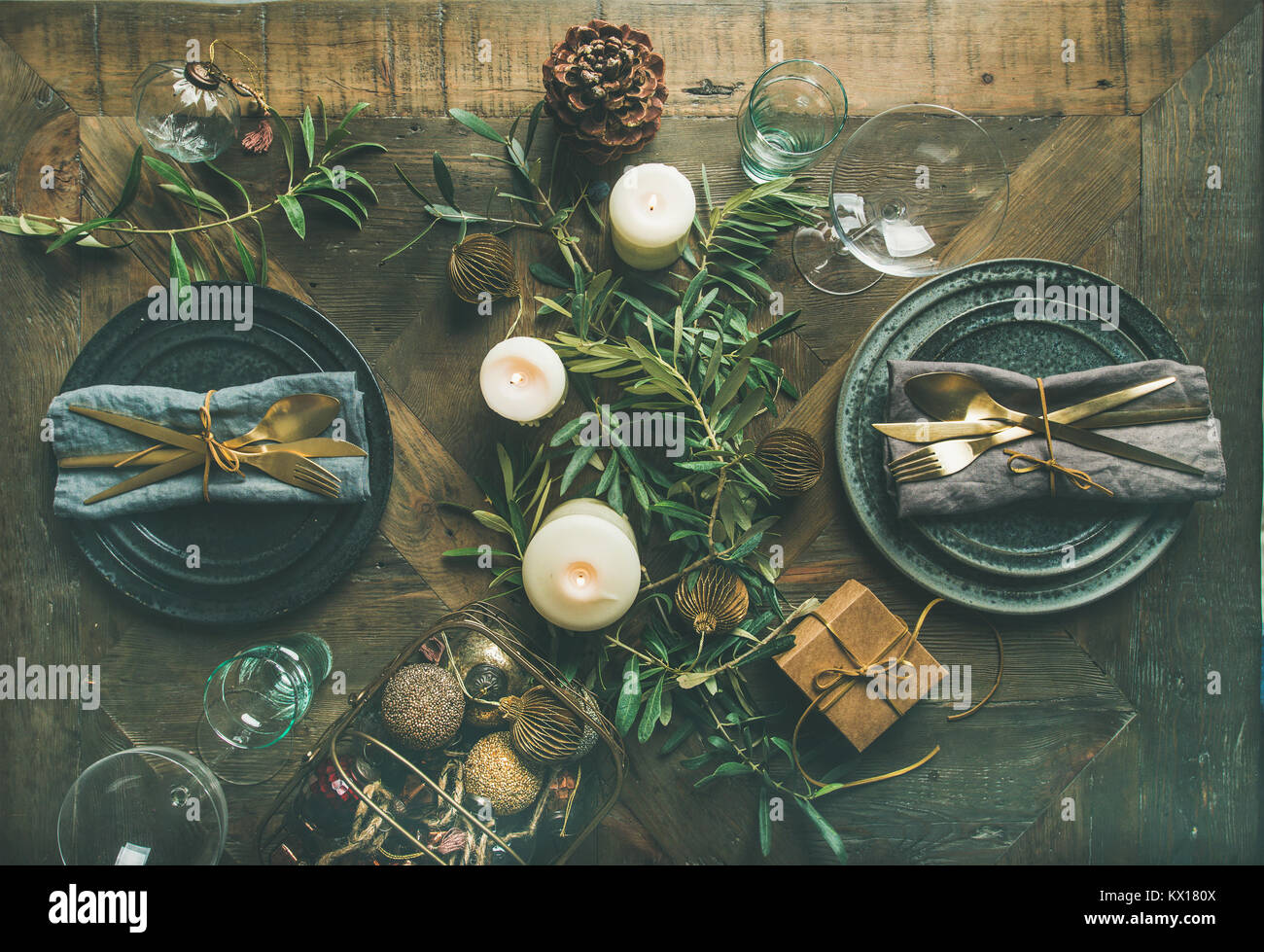 Christmas or New Years eve celebration party table setting - Stock Image