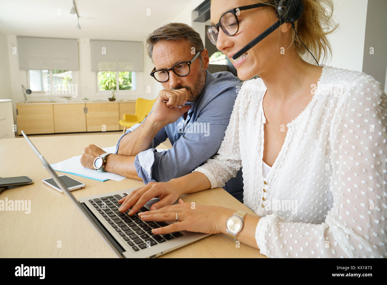 Startup people in conference call - Stock Image
