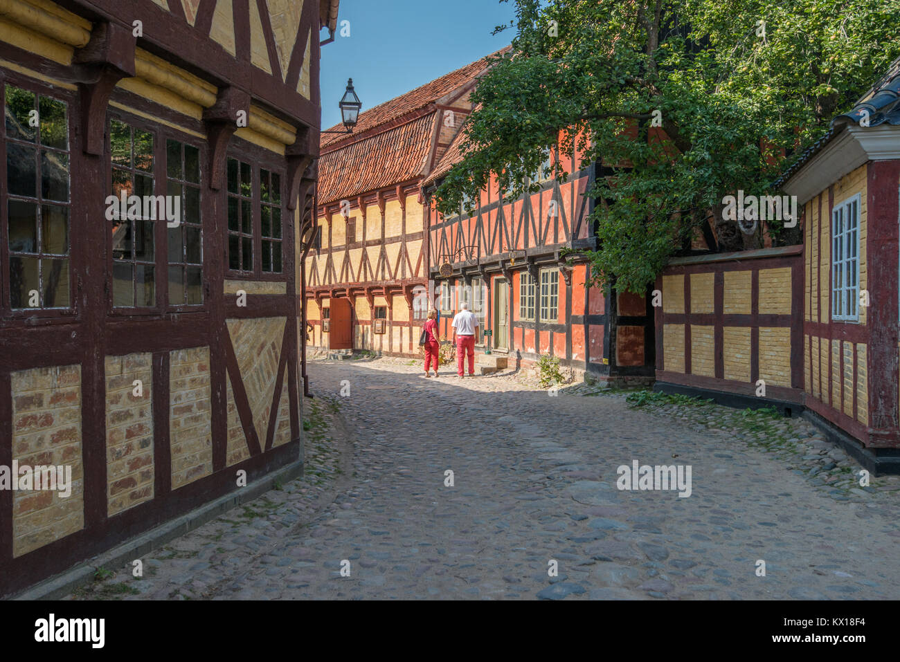 The Old Town in Aarhus is popular among tourists as it displays traditional Danish architecture from 16th century - Stock Image