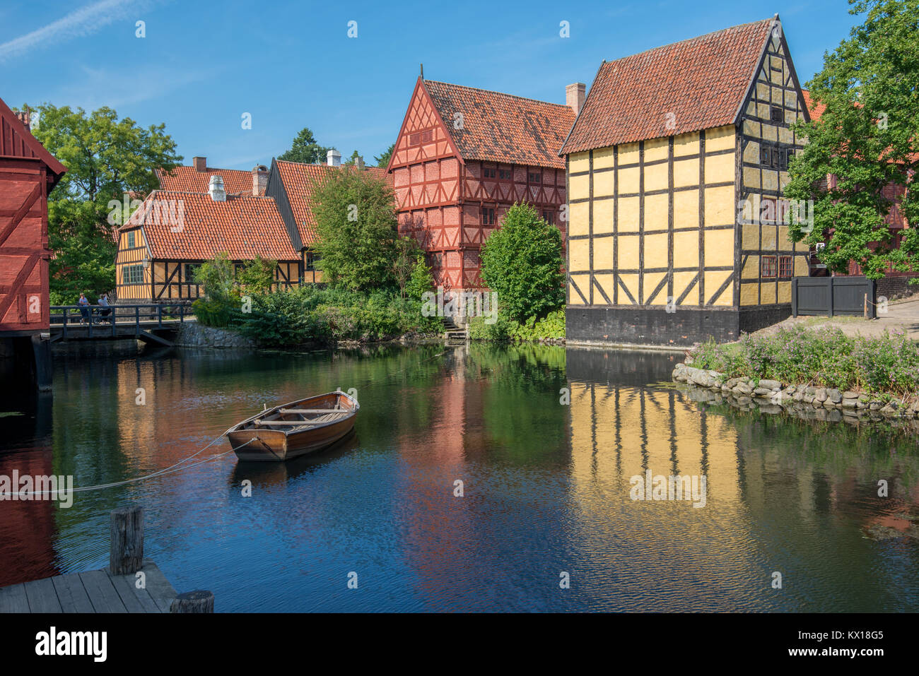 The Old Town in Aarhus is popular among tourists as it displays traditional Danish architecture from 16th century to 19th century. Stock Photo