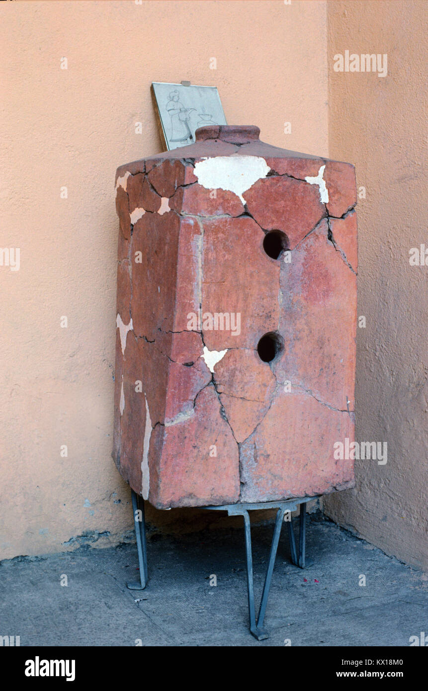Ancient Antique Terracotta Oven, Stove or Hittite Cooker (c2nd millennium BC) discovered in the Region of Tokat, - Stock Image