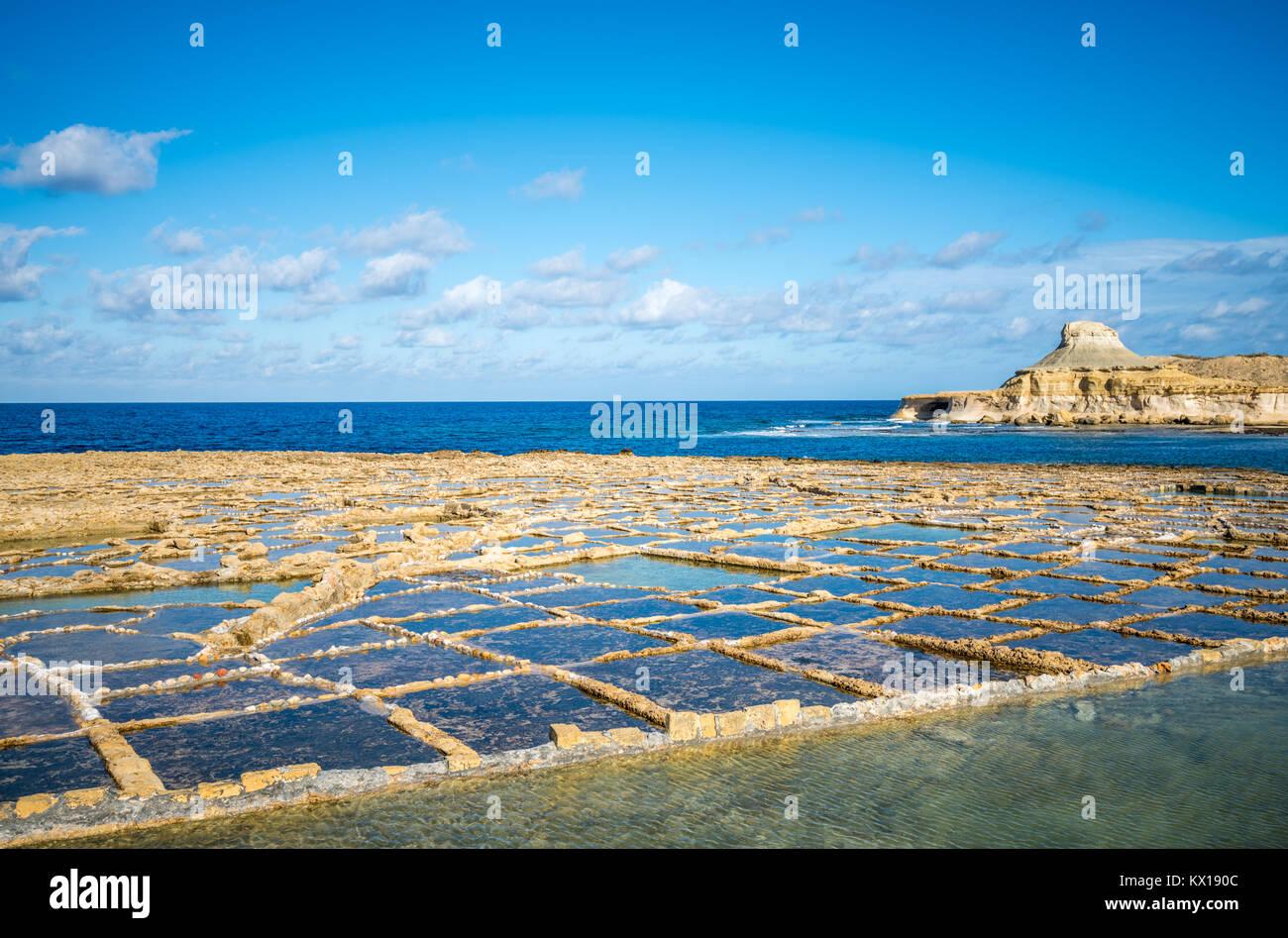 Salt evaporation ponds on Gozo island, Malta - Stock Image