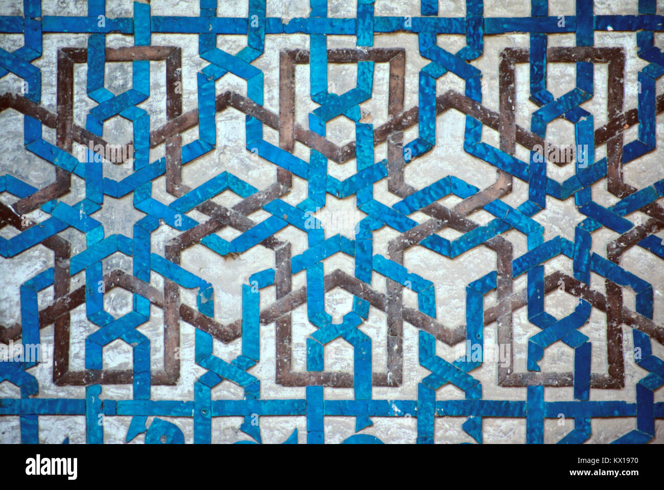 Decorative Geometric Designs and Turquoise Blue Faience Tiles on the ...