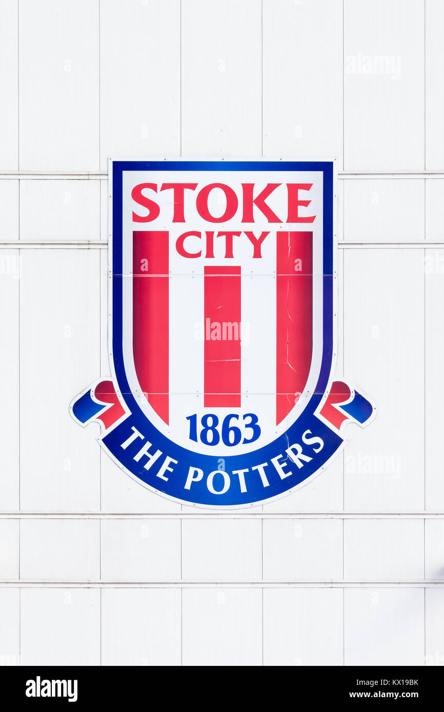 The crest of Stoke City Football Club adorns the bet365 stadium in Stoke-On-Trent, England. - Stock Image