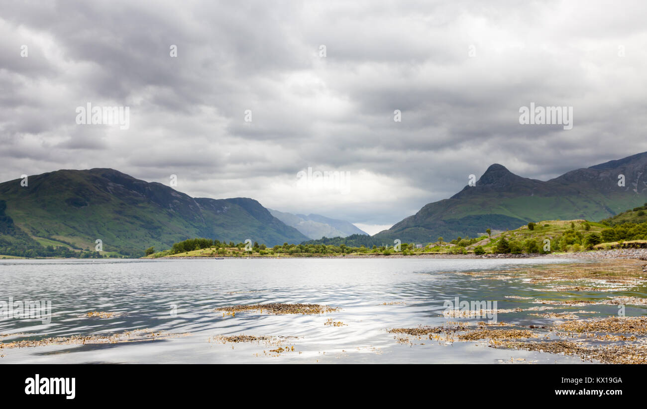 Loch Leven.  The view across Loch Leven to the Pap of Glencoe in the Scottish highlands.  Loch Leven is a sea loch - Stock Image