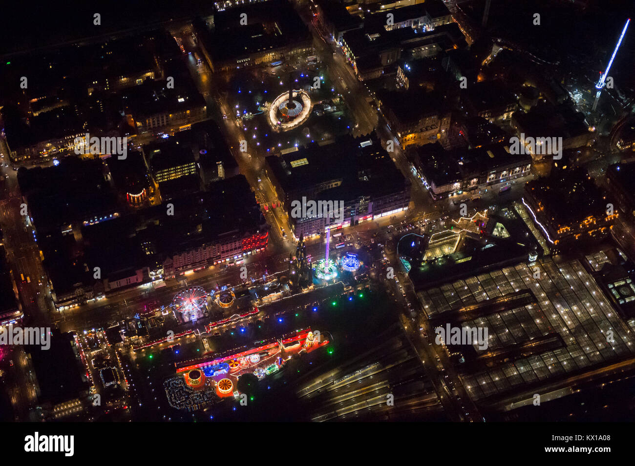 Edinburgh Christmas entertainment in Princes street gardens seen from above at night. - Stock Image