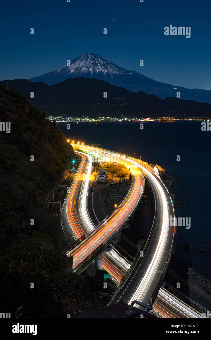 Nightview of Mount Fuji and Tomei Highway from Satta Path in winter. - Stock Image