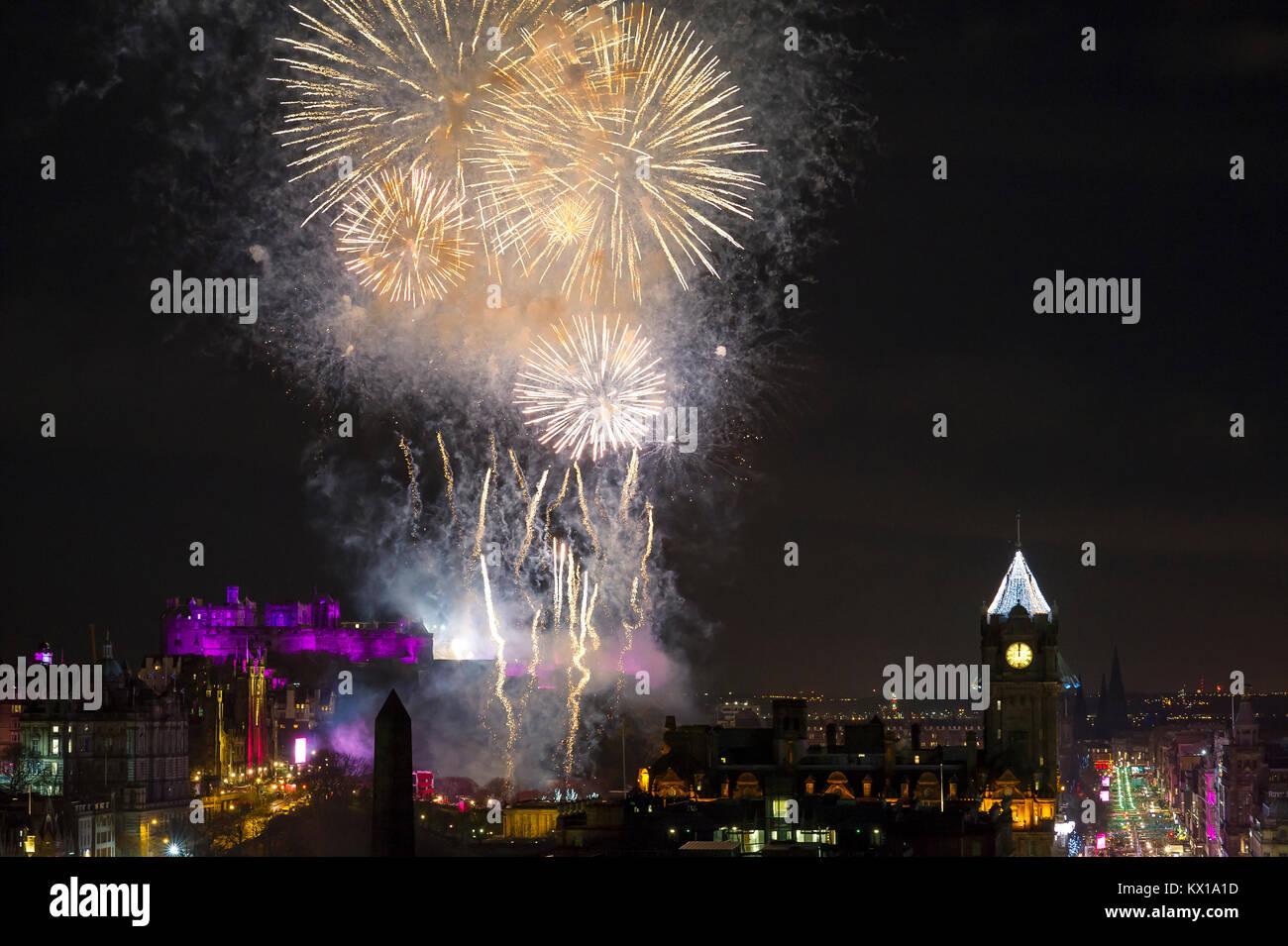 Firework display above Edinburgh Castle part of the 2018 Edinburgh new year celebrations. - Stock Image