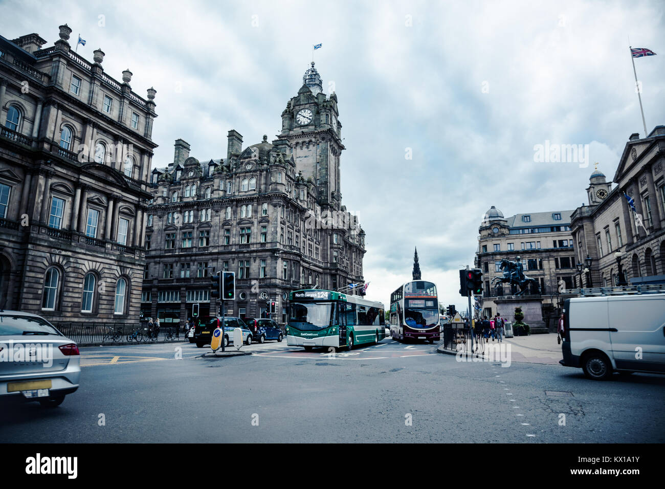 Everyday scene of a busy street in Edinburgh. - Stock Image