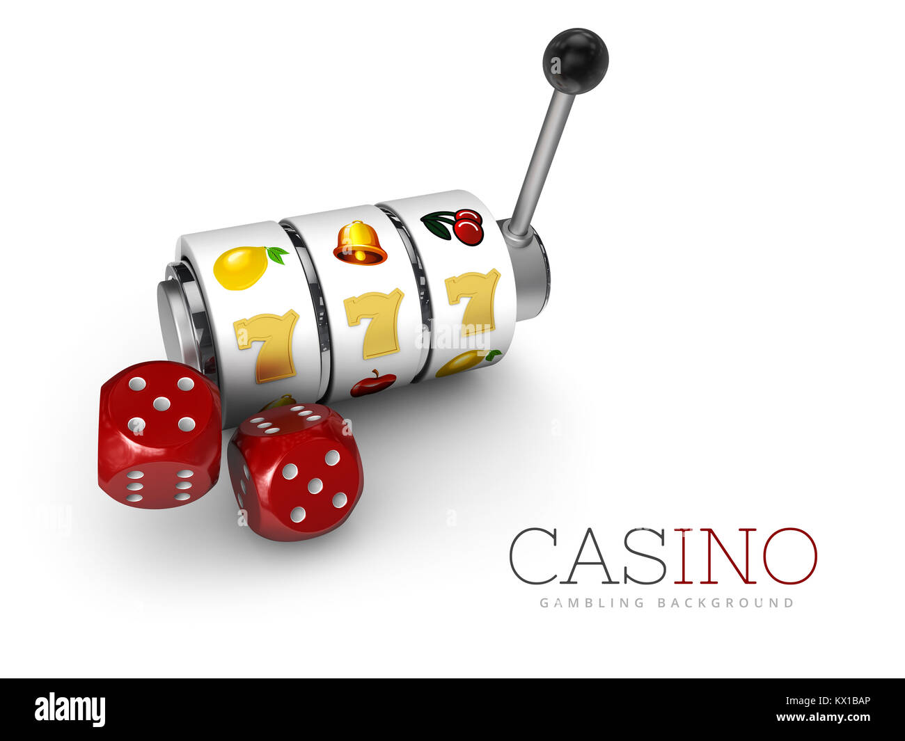3d Illustration of Slot machine with lucky sevens jackpot and dices - Stock Image