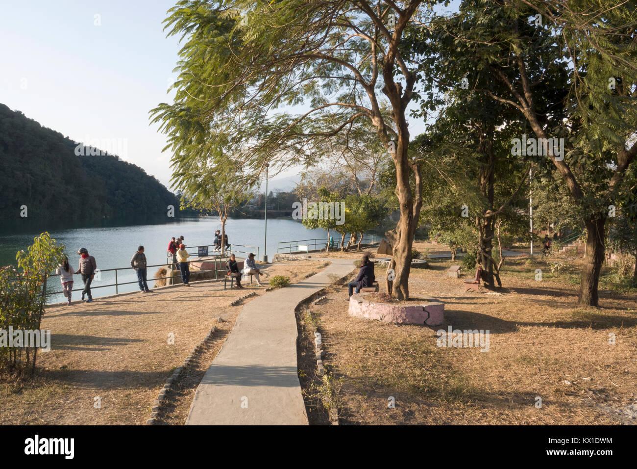Scenic view of Phewa Lake, Pokhara, Nepal - Stock Image