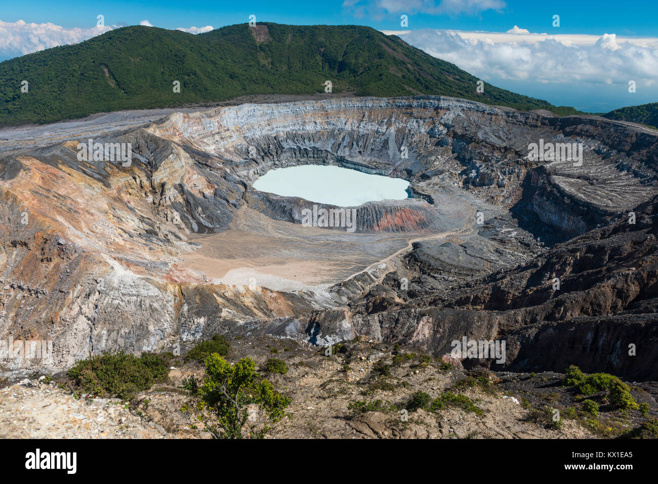Caldera with crater lake, Poas Volcano, National Park Poas Volcano, Costa Rica Stock Photo