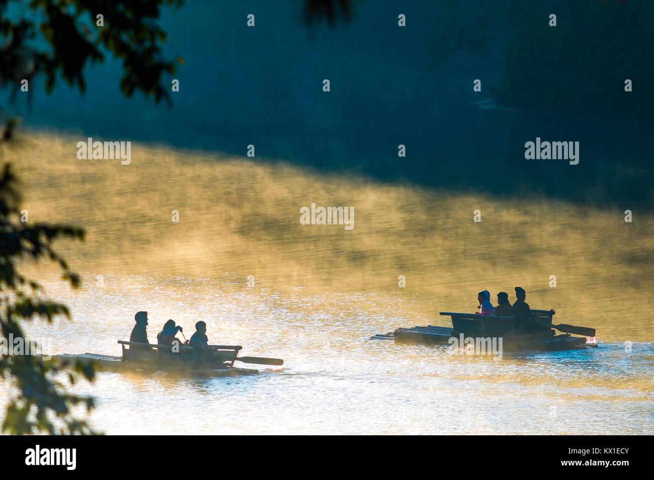 MAEHONGSORN THAILAND - JAN24,2017 : tourist bamboo rafting in pang ung reservoir lake ,pang ung most popular winter - Stock Image