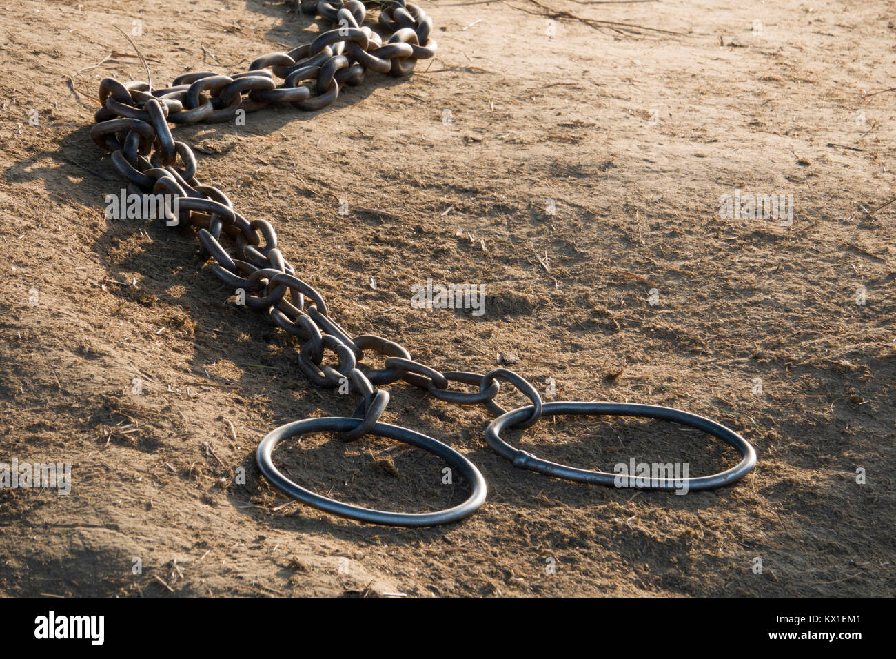 Elephant foot chains in Sauraha, Nepal - Stock Image