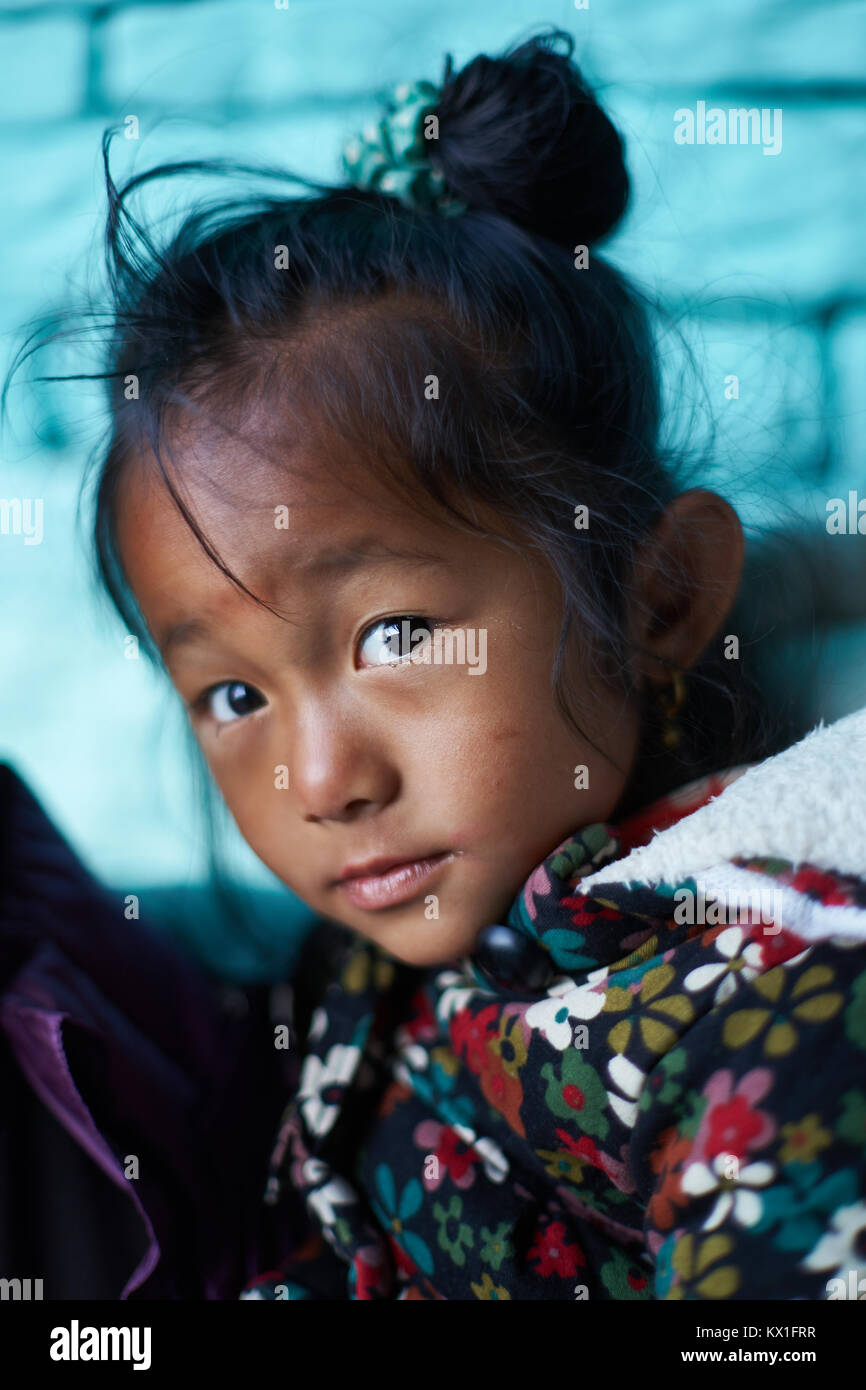 Nepali little girl, Sinuwa, Annapurna massif, Nepal - Stock Image