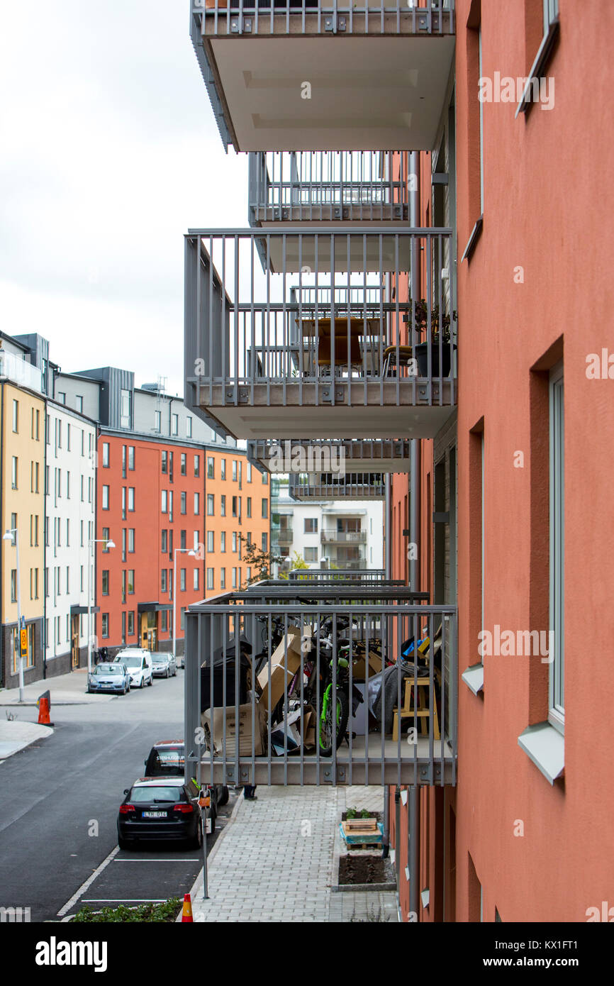 If you live crowded, you sometimes need to use the balcony as a storage room, Solna, Sweden - Stock Image