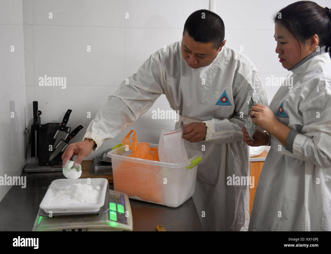 Changchung, China. 6th January, 2018. (180106) -- CHANGCHUN, Jan. 6, 2018 (Xinhua) -- Feeders prepare dietary supplements - Stock Image