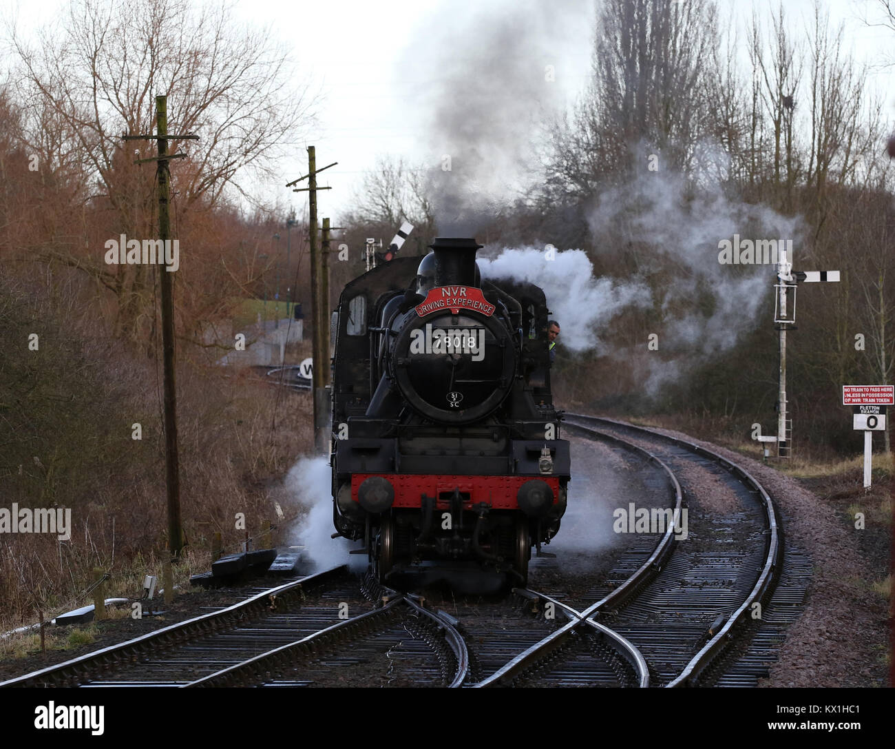 Peterborough, Cambridgeshire, on January 6, 2018. Steam locomotive train 78018 prepares for it's last day with the Stock Photo