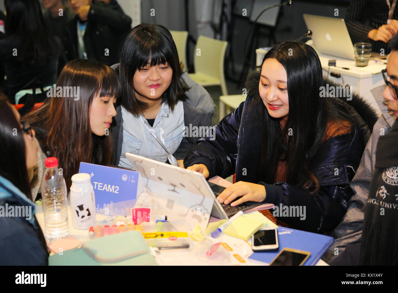 Shanghai China 6th Jan 2018 Students Discuss Startup Projects Stock Photo Alamy