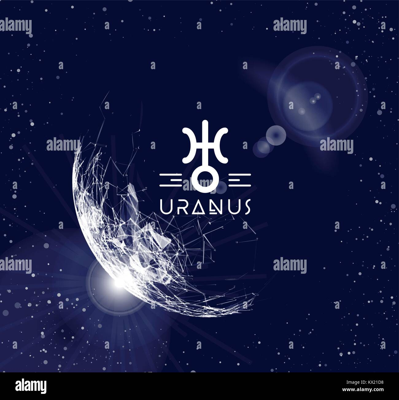 Planet Uranus in the form of polygonal mesh elements in the