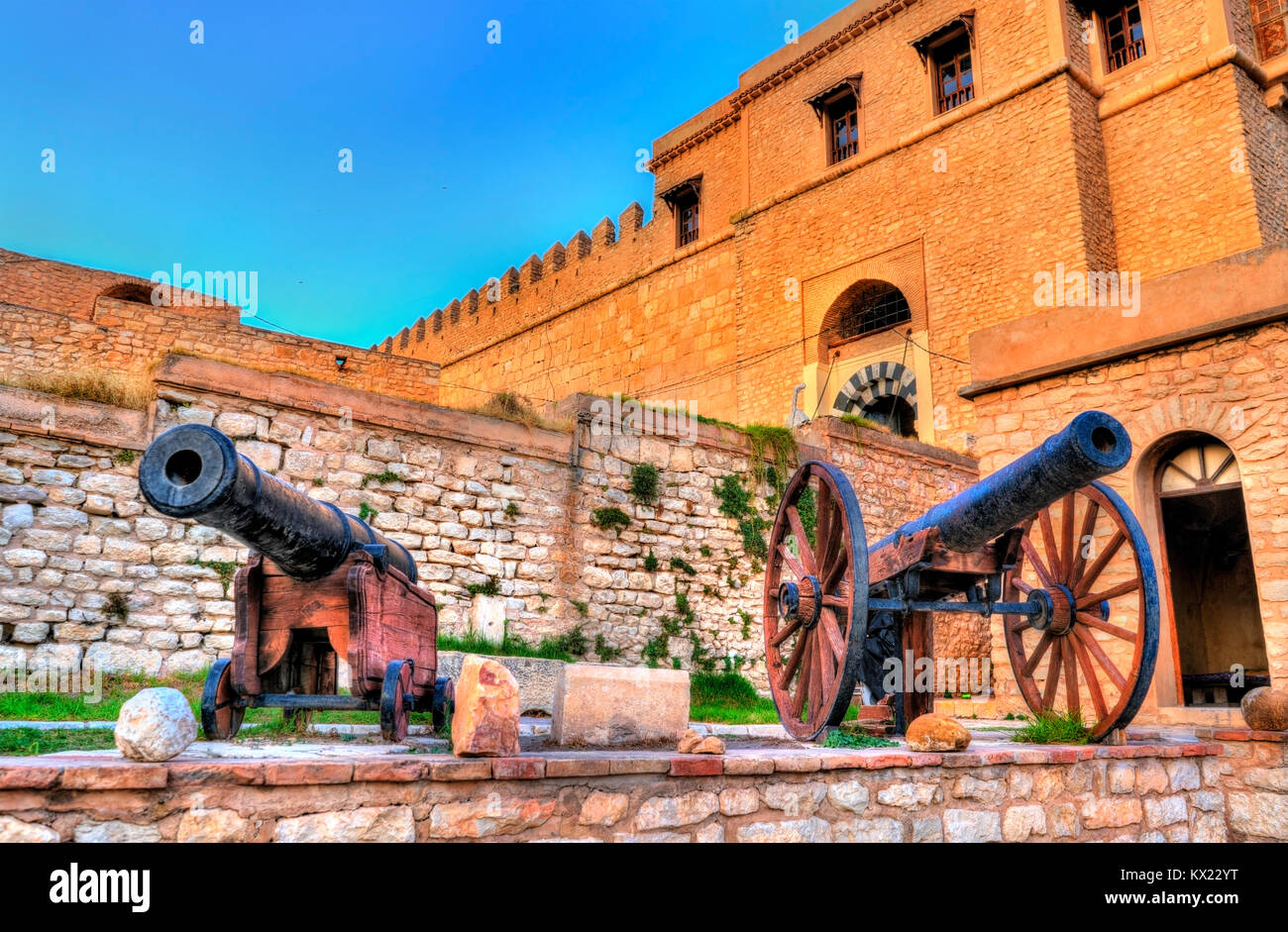 Cannons at the Kasbah, a medieval fortress in le Kef, Tunisia - Stock Image