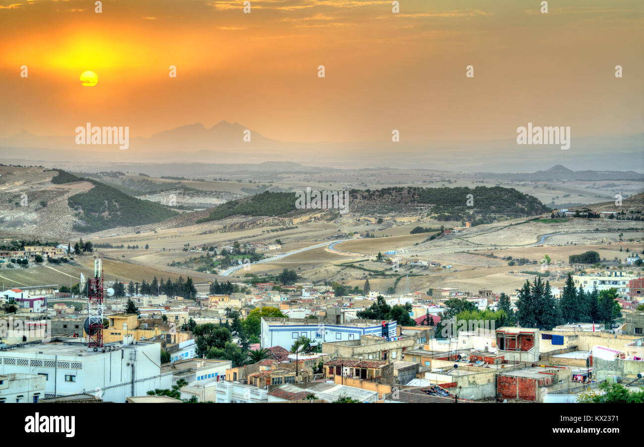 Sunset above El Kef, a city in northwestern Tunisia - Stock Image