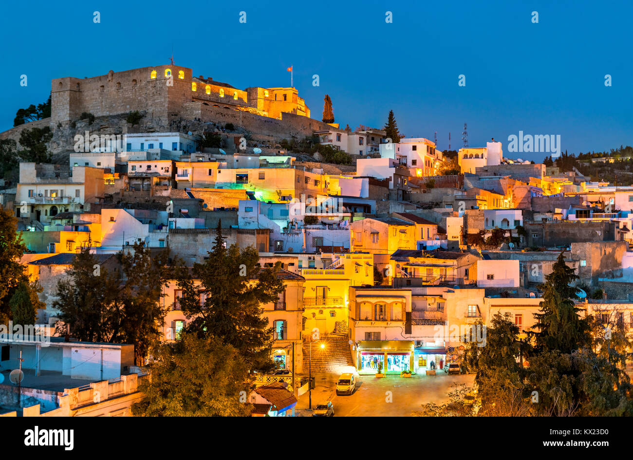 Night skyline of El Kef, a city in northwestern Tunisia - Stock Image