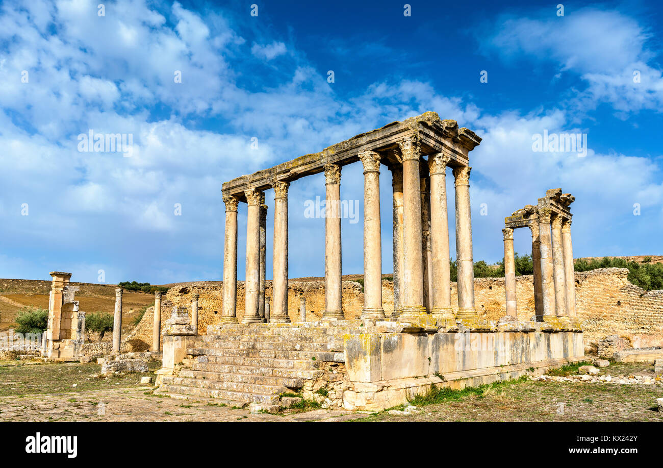 Temple of Juno Caelestis at Dougga, an ancient Roman town in Tunisia - Stock Image