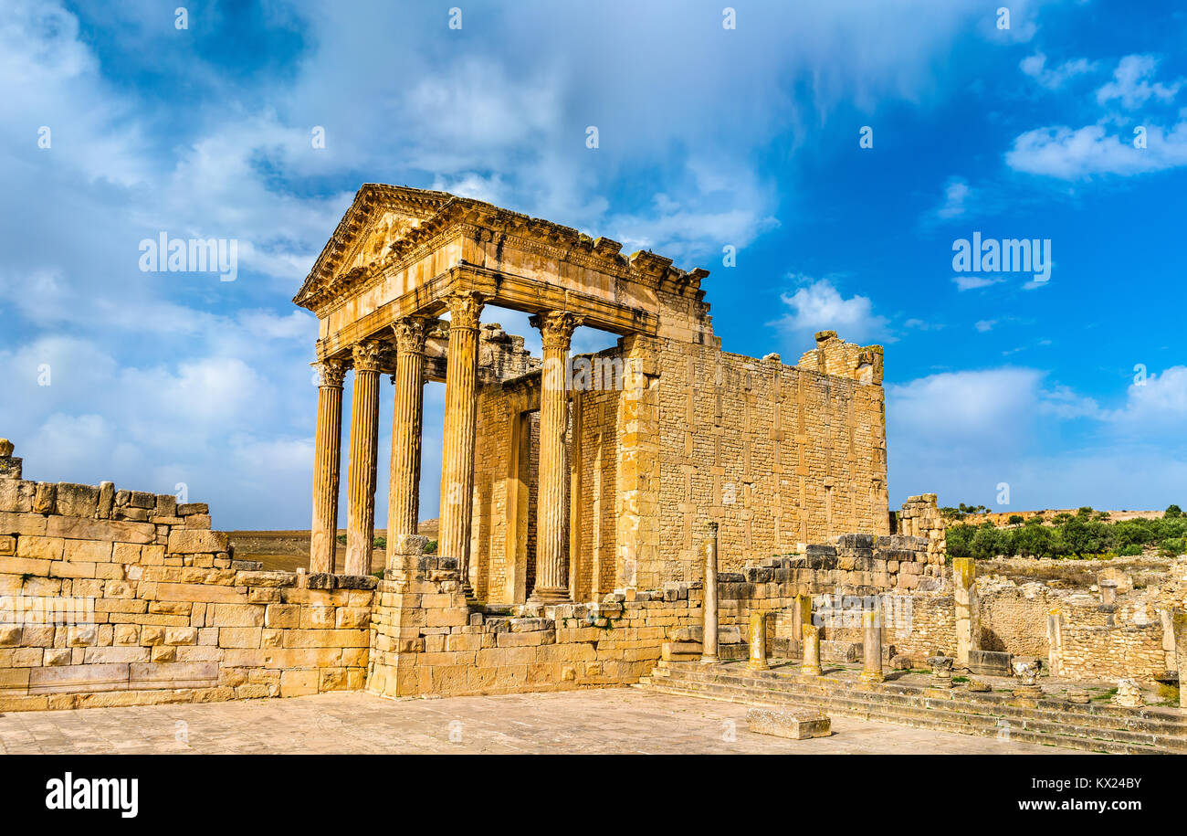 The Roman Capitol at Dougga. UNESCO heritage site in Tunisia - Stock Image