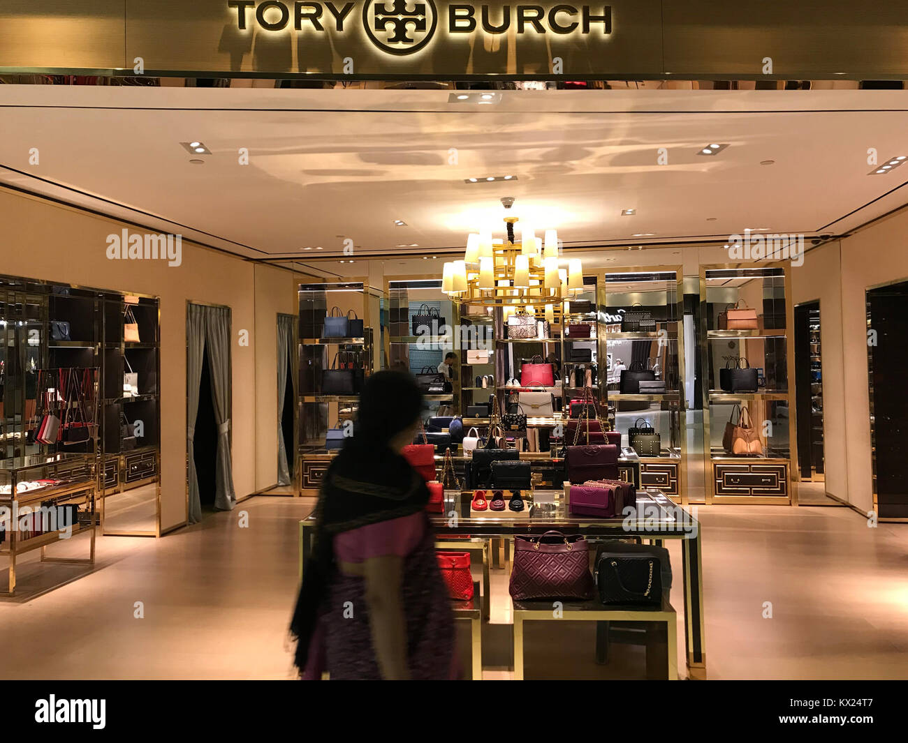 Bangkok, Thailand - December 20, 2017: Showcase of Tory Burch Brand  Boutique -