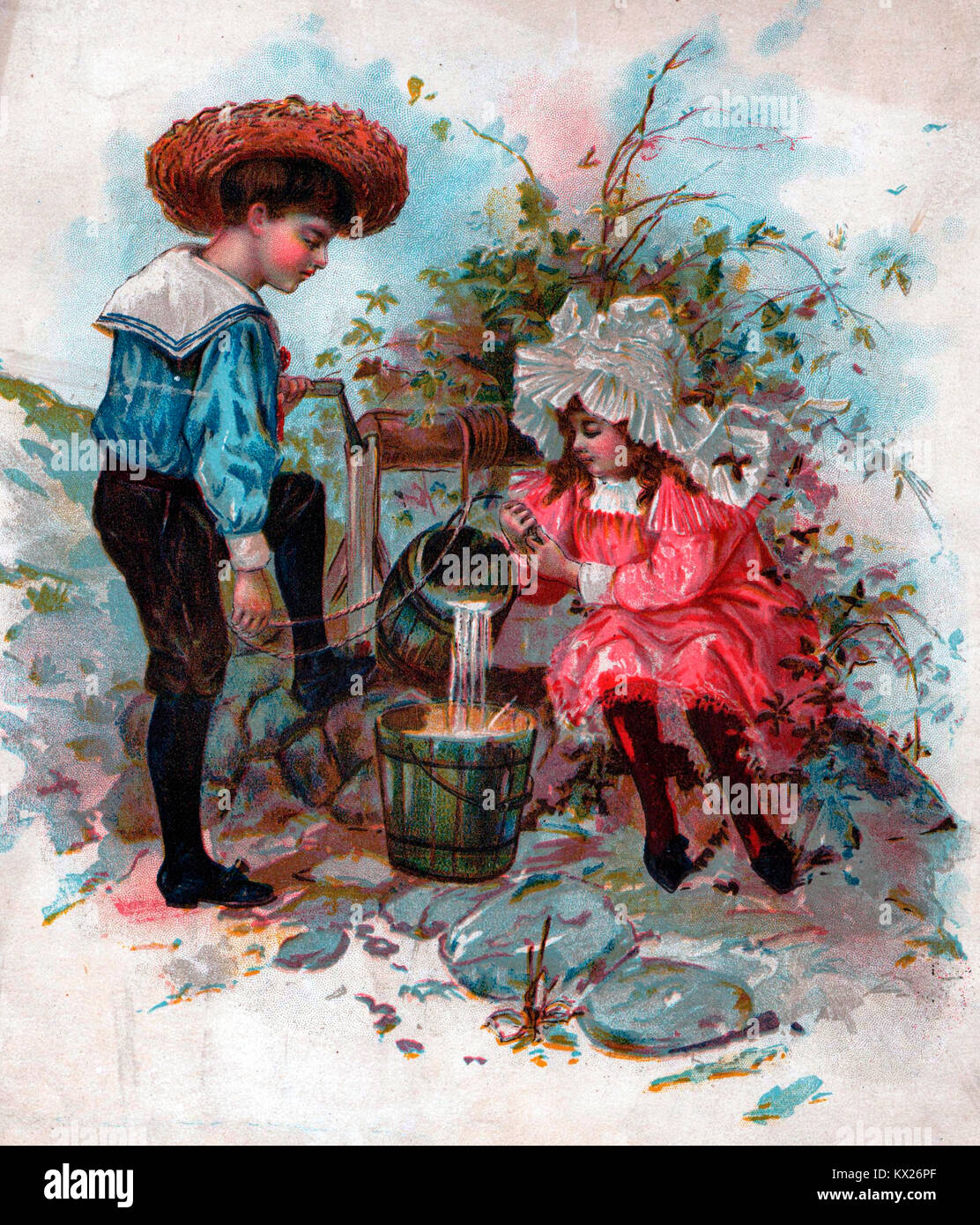 Jack and Jill fetching a pail of water - Stock Image