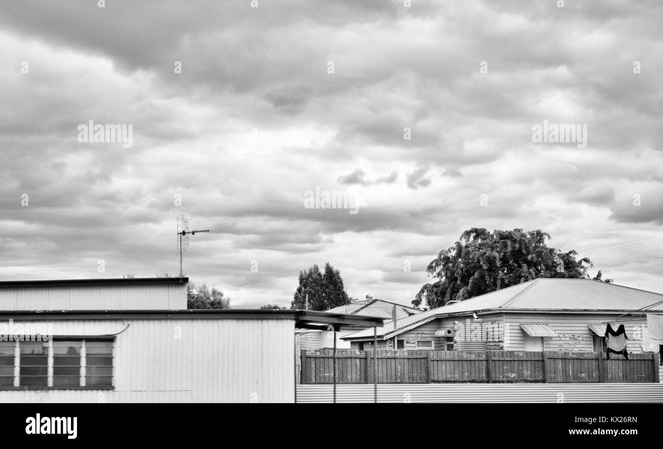 Houses and structures in a country town, Dramatic black and white images of Australia, december, Queensland, Australia - Stock Image